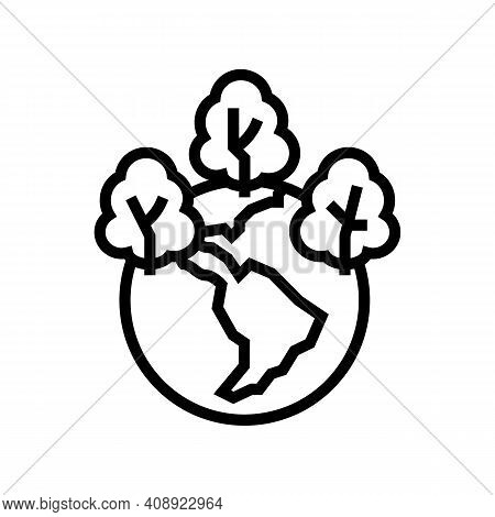 Safe Forest And Ecosystem Line Icon Vector. Safe Forest And Ecosystem Sign. Isolated Contour Symbol