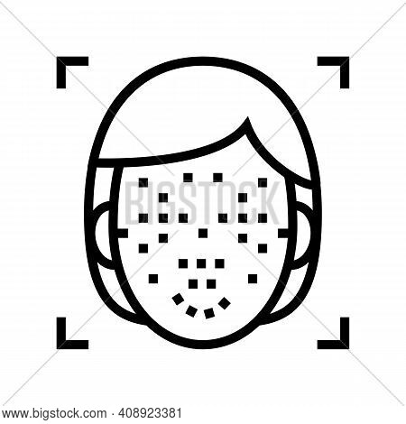 Facial Points For Face Id Technology Line Icon Vector. Facial Points For Face Id Technology Sign. Is