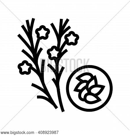 Flax Groat Line Icon Vector. Flax Groat Sign. Isolated Contour Symbol Black Illustration