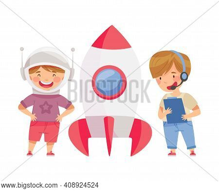 Smiling Boys Playing With Spacecraft Pretending Being Astronaut Vector Illustration