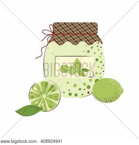 Jar Of Sunny Juicy Limes Jam. Homemade Jam From Fresh Limes.