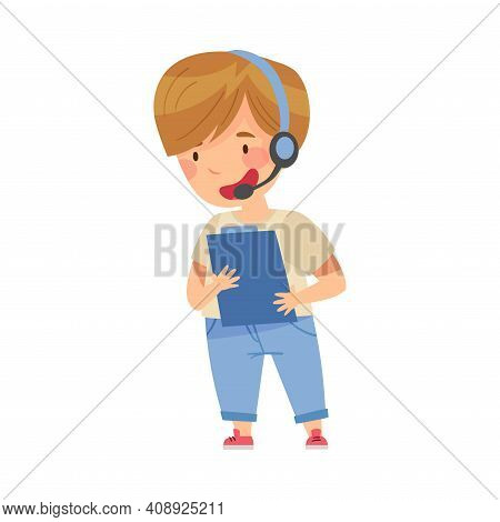Smiling Boy Wearing Headset Playing Pretending Being Astronaut Vector Illustration