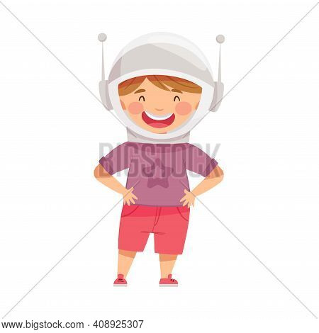 Smiling Boy Wearing Space Helmet Playing Pretending Being Astronaut Vector Illustration