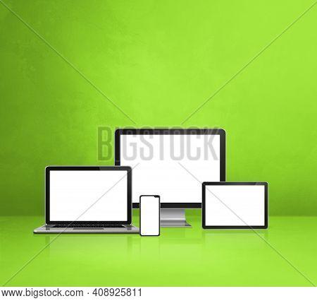 Computer, Laptop, Mobile Phone And Digital Tablet Pc - Green Office Desk Background. 3d Illustration