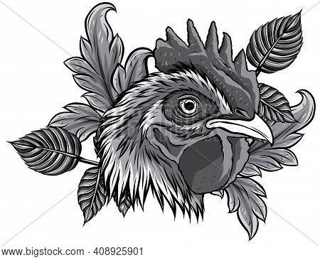 Monochromatic Chicken Rooster Head Mascot Vector Illustration Design