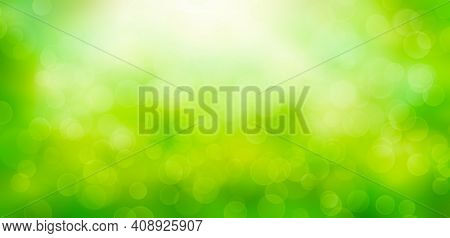 Spring Nature Background With Green Blurred Bokeh Lights. Sunny Abstract Nature Background, Defocuse
