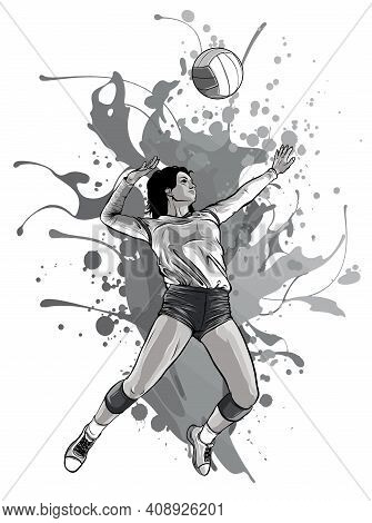 Monochromatic Volleyball Sport Girl And Ball Cartoon Vector Illustration