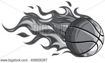 Monochromatic Basketball Ball In Flame Vector Illustration Design