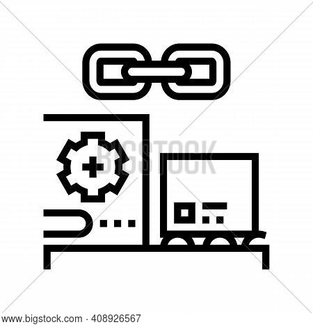 Supply Chain Line Icon Vector. Supply Chain Sign. Isolated Contour Symbol Black Illustration