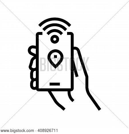 Smartphone With Rfid Nfc Technology Line Icon Vector. Smartphone With Rfid Nfc Technology Sign. Isol