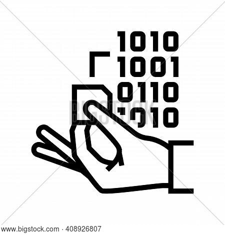 Programming Rfid Chip Line Icon Vector. Programming Rfid Chip Sign. Isolated Contour Symbol Black Il