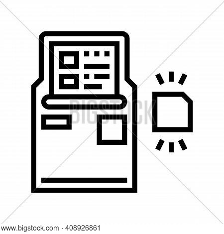 Atm With Rfid Technology Line Icon Vector. Atm With Rfid Technology Sign. Isolated Contour Symbol Bl