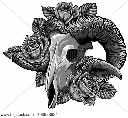 Monochromatic Goat Skull Vector Illustration. Goat Devilish Magical Symbol And Flowers Peonies And R