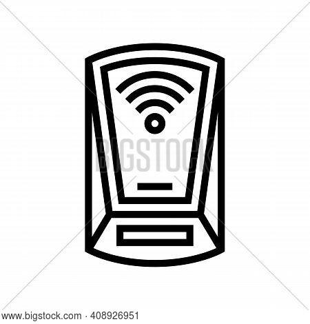 Scanning Rfid Device Line Icon Vector. Scanning Rfid Device Sign. Isolated Contour Symbol Black Illu