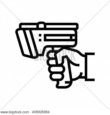 Laser Gun For Scan Rfid Line Icon Vector. Laser Gun For Scan Rfid Sign. Isolated Contour Symbol Blac