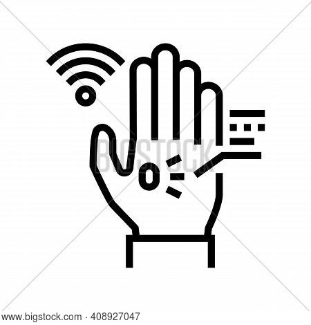 Chip Rfid In Palm Line Icon Vector. Chip Rfid In Palm Sign. Isolated Contour Symbol Black Illustrati