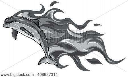 Monochromatic Of Fiery Dolphins. Vector Illustrations. Tattoos.