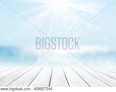 Wooden Table Top On Blue Sea And White Sand Beach Background. Vacation Holidays Background Wallpaper