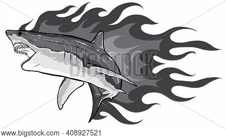 Monochromatic Shark With Flames For Tattoo Or Mascot Design, Such A Logo Template.