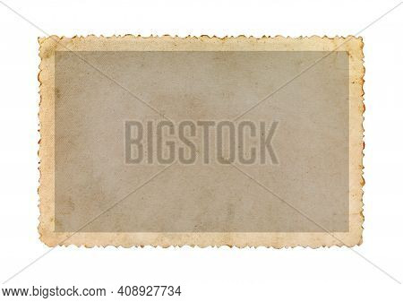 Vintage Photo Frame With Figured Edges, Isolated On White Background. Old Photo Paper.