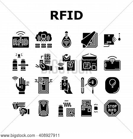 Rfid Chip Technology Collection Icons Set Vector. Security Card And Trinket, Development And Program