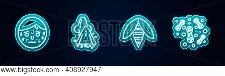 Set Line Man With Excessive Sweating, Runny Nose, Bee And Bacteria. Glowing Neon Icon. Vector