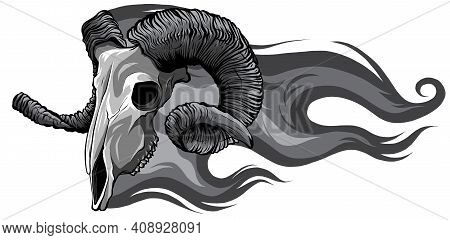 Monochromatic Skull Ram Side Flaming Set Vector Illustration