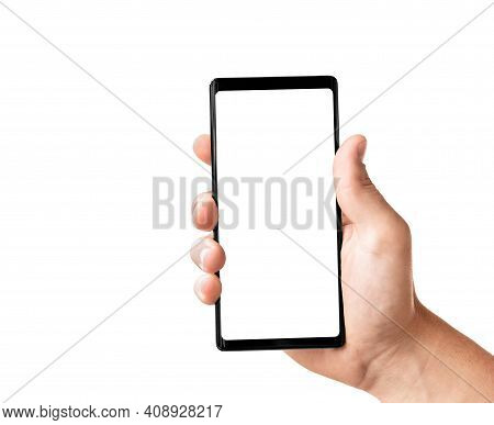 Man's Hand Holding Black Modern Smartphone Isolated On White Background With Clipping Path. Close-up