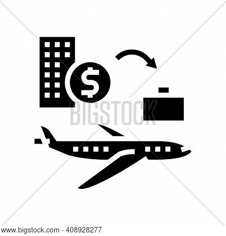 Transport And Business Trip Benefits Glyph Icon Vector. Transport And Business Trip Benefits Sign. I