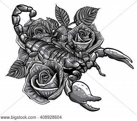 Monochromatic Detailed Realistic Scorpio In A Decorative Frame Of Roses.