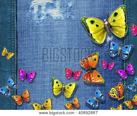 Background with butterflies and jeans