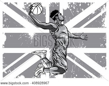 Monochromatic Vector Watercolor Silhouette Basketball Player Illustration Art