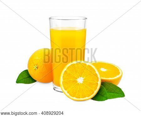 Fresh Orange Juice And Oranges With Green Leaves Isolated On White Background. Glass Of Orange Juice