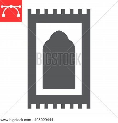 Prayer Rug Glyph Icon, Happy Ramadan And Religion, Prayer Carpet Vector Icon, Vector Graphics, Edita