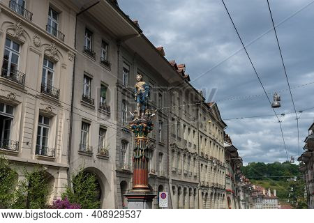 Bern, Switzerland - August 12, 2019 - View Of Statues Placed On The Streets Of The Old Town