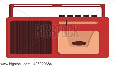Retro Tape Recorder With One Speaker. Outdated Equipment In Cartoon Style.