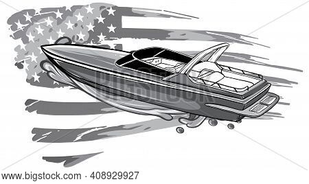 Monochromatic Boat Vector Speed Motorboat Yacht Traveling In Ocean