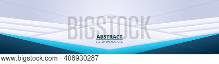 Colorful Abstract Wide Banner. Light Diagonal White Wide Background With Colored Gradient Paper Shap