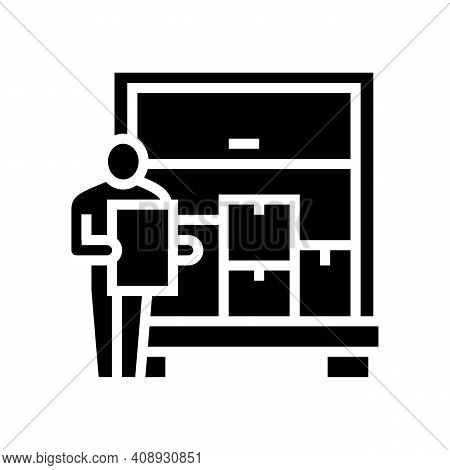 Delivering Service Procurement Glyph Icon Vector. Delivering Service Procurement Sign. Isolated Cont