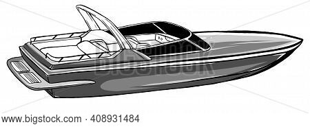 Monochromatic Boat Icon Vector Illustration Graphics Art