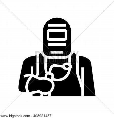 Welder Worker Glyph Icon Vector. Welder Worker Sign. Isolated Contour Symbol Black Illustration