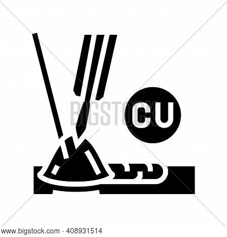 Copper Welding Glyph Icon Vector. Copper Welding Sign. Isolated Contour Symbol Black Illustration
