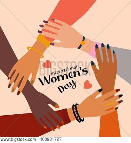 International Women S Day 8 March. Feminism Female Hands Together Greeting Card. Girls Power. Fight