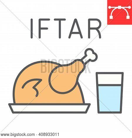 Iftar Color Line Icon, Happy Ramadan And Religion, Chicken Food With Water Vector Icon, Vector Graph
