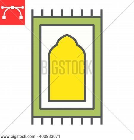 Prayer Rug Color Line Icon, Happy Ramadan And Religion, Prayer Carpet Vector Icon, Vector Graphics,
