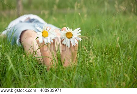 Child With Daisy Lying In Sunny Meadow And Relaxing In Summer Sunshine. Boy Lying On Green Grass Out