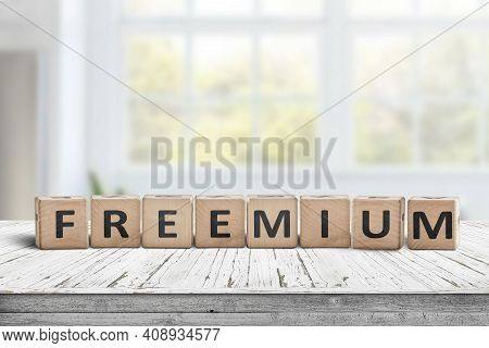 Freemium Trend Sign On A Desk In A Bright Office With Sunlight Through The Windows
