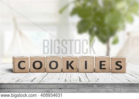 Cookies Word On Wooden Blocks In A Bright Living Area With Green Plants