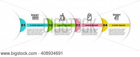 Set Line Street Signboard With Beer, Tap Glass, Can Foam And Signboard Of Beer. Business Infographic