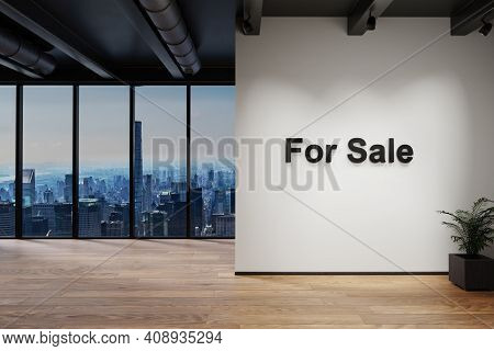 Luxury Loft With Skyline View, Wall With For Sale Lettering, 3d Illustration